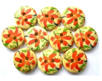 10 Wood buttons orange flowers ornament, 15mm, for button jewelry