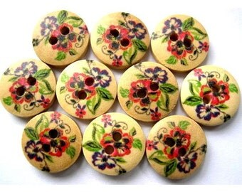 15 Wood buttons red flowers ornament, 15mm, for button jewelry