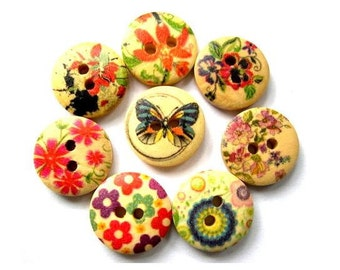 48 Wood buttons, 8 kinds flowers colorful ornament, 15mm