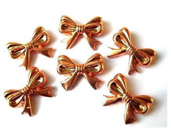 6 Vintage bows charms lucite copper coated 22mm