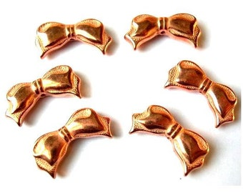 8 Vintage bows BEADS charms lucite copper coated 21mm