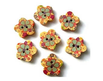 15 Buttons, flower shape, wood, ornaments, for button jewelry, scrapbooking, crafts