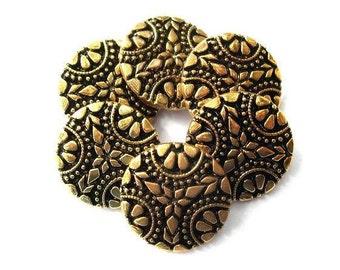 6 Buttons, vintage,  flower ornament, bronze color on black, plastic. 27mm