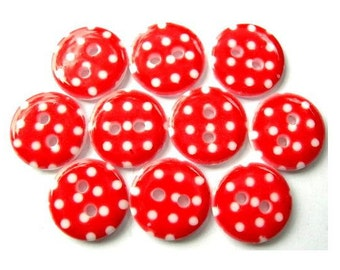 10 Plastic buttons red with white dots