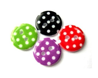 40 Plastic buttons green, red, violet, red with white dots 15mm