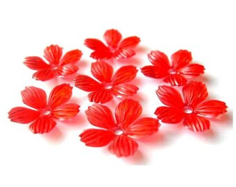 10 Flowers beads vintage 20mm orange to red