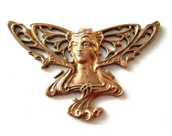 Vintage metal fairy head metal stamping ART NOUVEAU style made of cooper 44mm