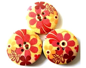 6 Wood buttons 30mm flowers picture