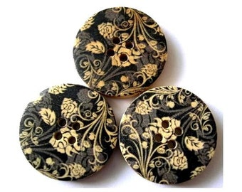 6 Wood buttons natural wood color flowers on black 30mm