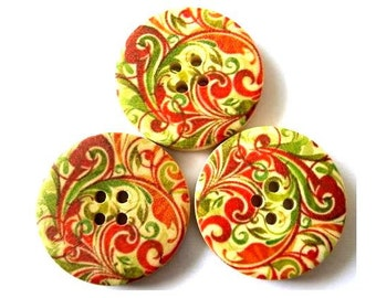 6 Wood buttons beautiful picture in green and cognac color 30mm