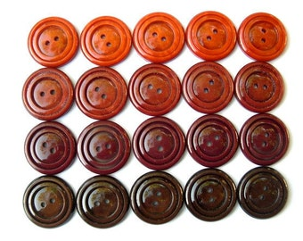 20 Buttons, vintage, 5 earth color brown shades,  plastic, 22mm
