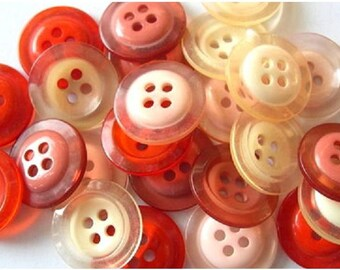16 Vintage buttons, 4 colors, can be use as beads for button jewelry, 18mm