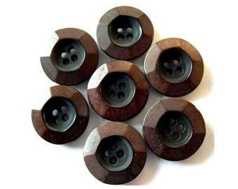 6 BUTTONS, ART DECO vintage plastic rare 17mm, black with brown