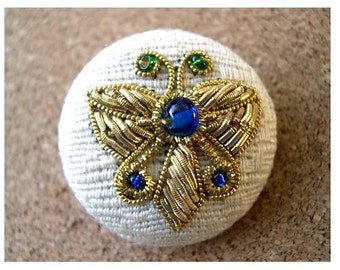 2 Buttons with beads buttterfly embroidery on  cloth, plastic base, great for button Jewelry, vintage