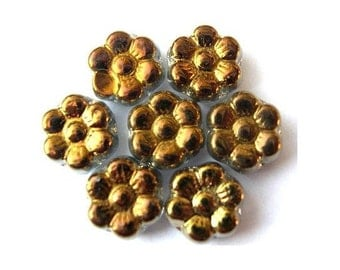 20 Vintage glass flowers beads Czech antique bronze color 8mm
