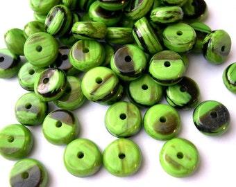 15 Vintage beads unique green with black plastic lucite, 12mm