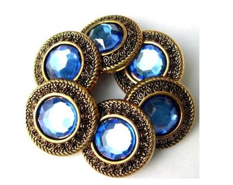 6 Vintage buttons,  plastic, button jewel with blue rhinestone, great for button jewelry