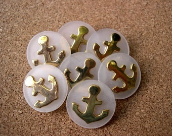 6 Vintage buttons gold color metal anchor on white plastic, 22mm