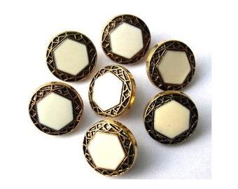 10 Vintage buttons bronze color plastic with white trim 15mm