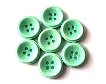 Vintage buttons, 10 plastic buttons, green, light green
