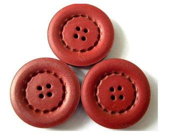 6 Antique vintage leather buttons 27mm