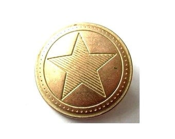 reserved-14 vintage metal buttons unique etched star shape 28mm