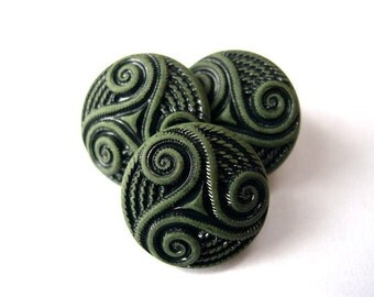6 Vintage plastic buttons, olive green and black unique design 25mm