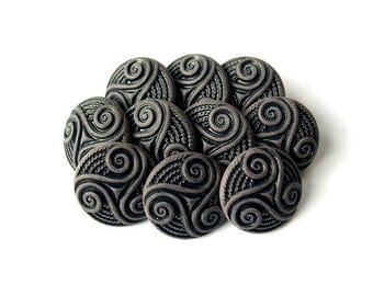 6 Vintage plastic buttons, smoke grey and black unique design 15mm