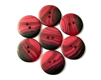 6 Vintage buttons red, brown ot green with black plastic 25mm-choose your color