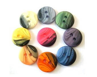 80 Vintage buttons, set of  9 colors, can be use for button jewelry, 13mm
