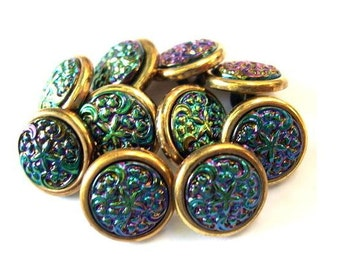 6 Vintage trim buttons colorful green purple center beautiful for button jewelry