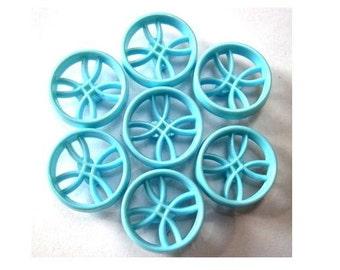 6 Vintage plastic buttons, light blue, unique design , 18.5mm