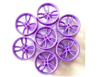 6 Vintage plastic buttons, purple, unique design , 18.5mm
