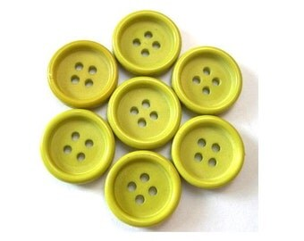 15 Vintage buttons plastic unique green shade 15mm