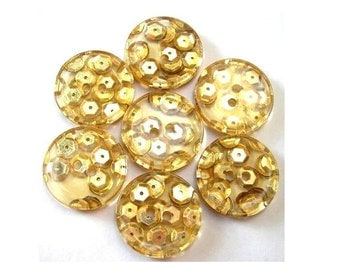 8 Vintage buttons translucent with gold color sequins 23mm great for button jewelry