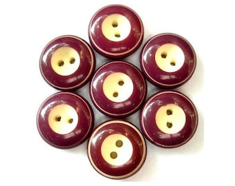7 Vintage buttons bordeaux with white center 15mm, high quality sweet buttons