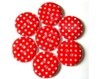 10 Plastic buttons red with white dots 23mm