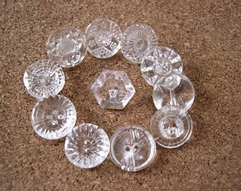 120 Antique vintage glass buttons, 12 types
