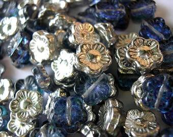 20 Vintage glass flowers beads Czech silver color blue backside10mm