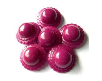 6 Vintage button plastic flower shape violet 21mm. 8mm height
