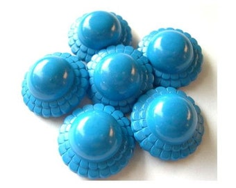 6 Vintage button plastic flower shape light blue 21mm. 8mm height