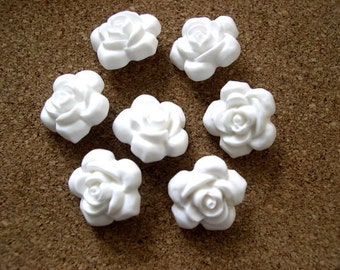 6 Flowers buttons white 18mm, new, beautiful for button jewelry and wedding