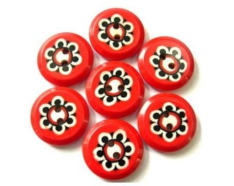 6 Vintage flowers buttons red plastic 21mm can be use for button jewelry