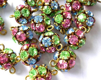 2 Vintage SWAROVSKI connector BEADS 11mm crystal blue pink green translucent rhinestones in brass setting- RARE