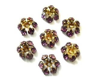 2 SWAROVSKI beads, vintage,  flower shape brass setting with 6 violet crystals
