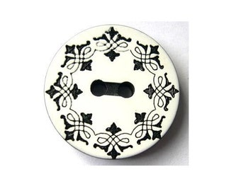 8 Vintage buttons black ornament on white 25mm