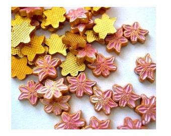 10 Vintage enamel metal flowers cabochon gold color base 7mmx6mm pink