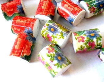 3 Beads,  flowers colorful ornament, vintage, large