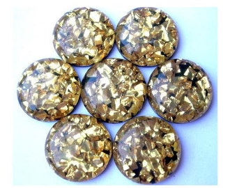 6 Vintage cabochon, black  with gold color glitters, 20mm, lucite plastic