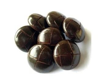6 Vintage leather buttons 20mm, metal shank dark  brown